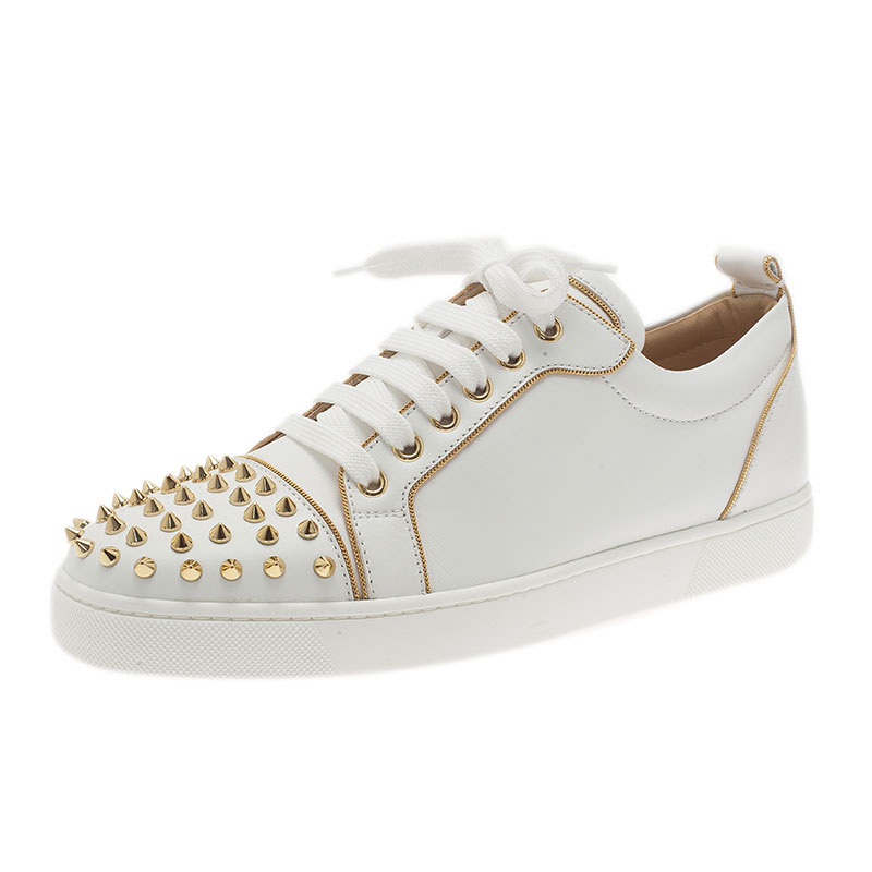 67f9afd9bc36 ... best price christian louboutin white leather rush spiked sneakers size  40. nextprev. prevnext 24979
