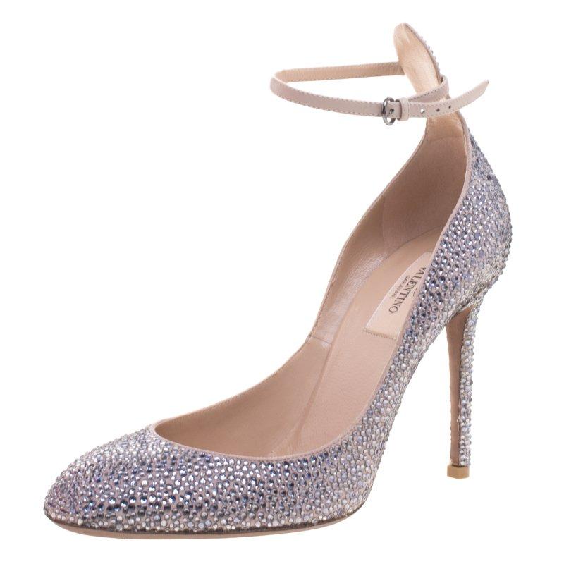 Valentino Woman Crystal-embellished Suede Pumps Size 38.5 UcMWzuIxfi