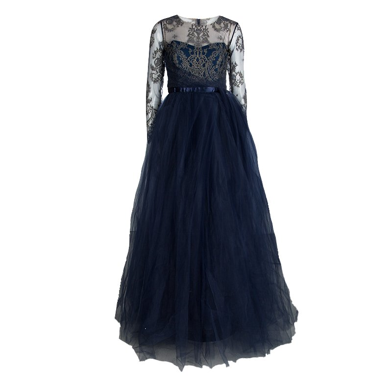 Marchesa Notte Navy Blue Floral Lace Long Sleeve Tulle Gown M - Buy ...