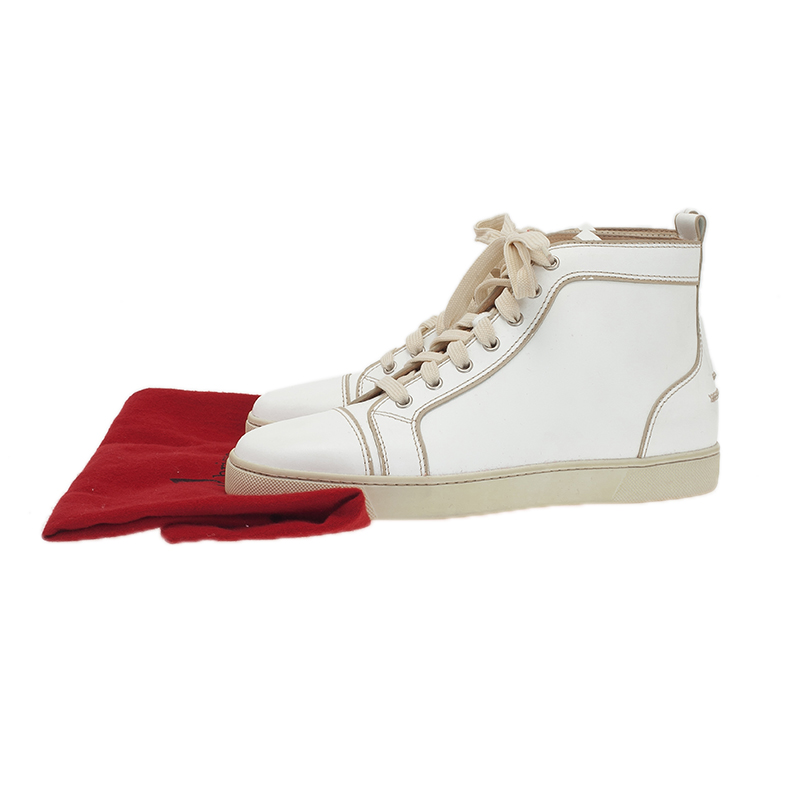 Christian Louboutin White Leather Louis Sneakers Size 41