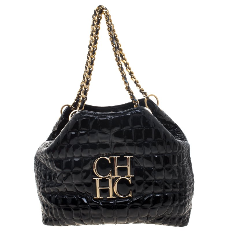 38738c3952e best website e8f80 7ce0f black patent shoulder bag croc emboss ...
