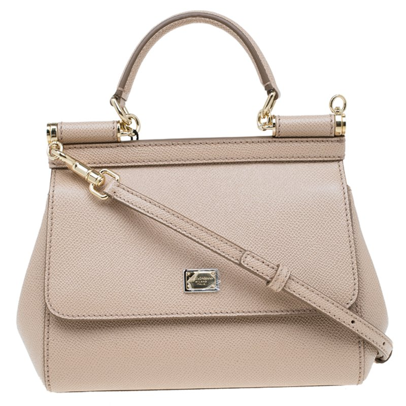 a62dd821c6f1 Dolce and Gabbana Nude Leather Small Miss Sicily Top Handle Bag. nextprev  ...