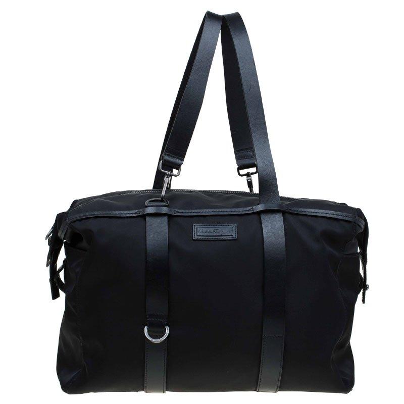eee0fb6bde62 Salvatore Ferragamo Black Nylon and Leather Strap Weekender Bag. nextprev.  prevnext ...