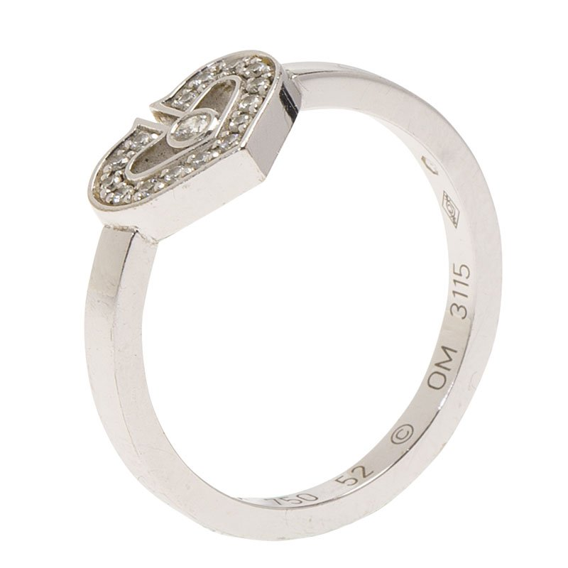 Cartier Hearts Symbols C Heart Diamond White Gold Ring Size 52