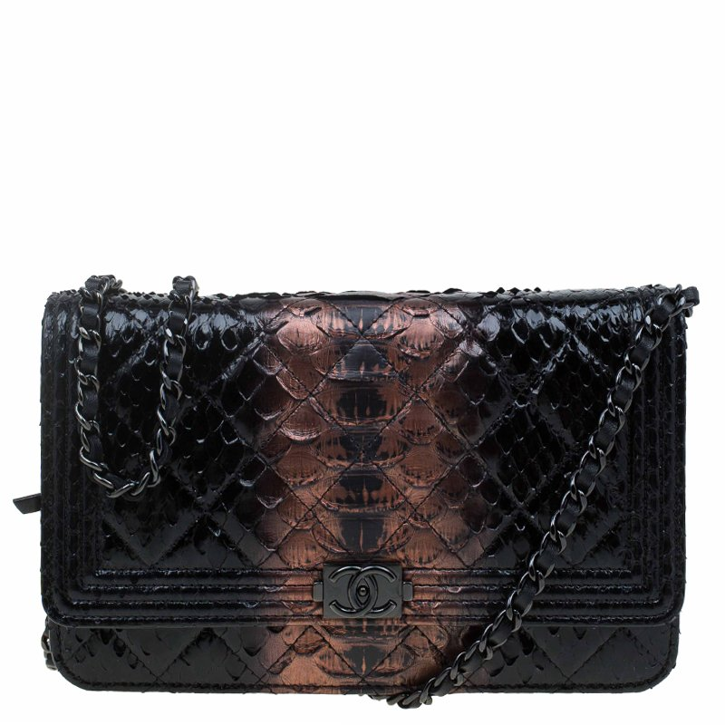 Python-print leather clutch bag BOSS Zjx9j