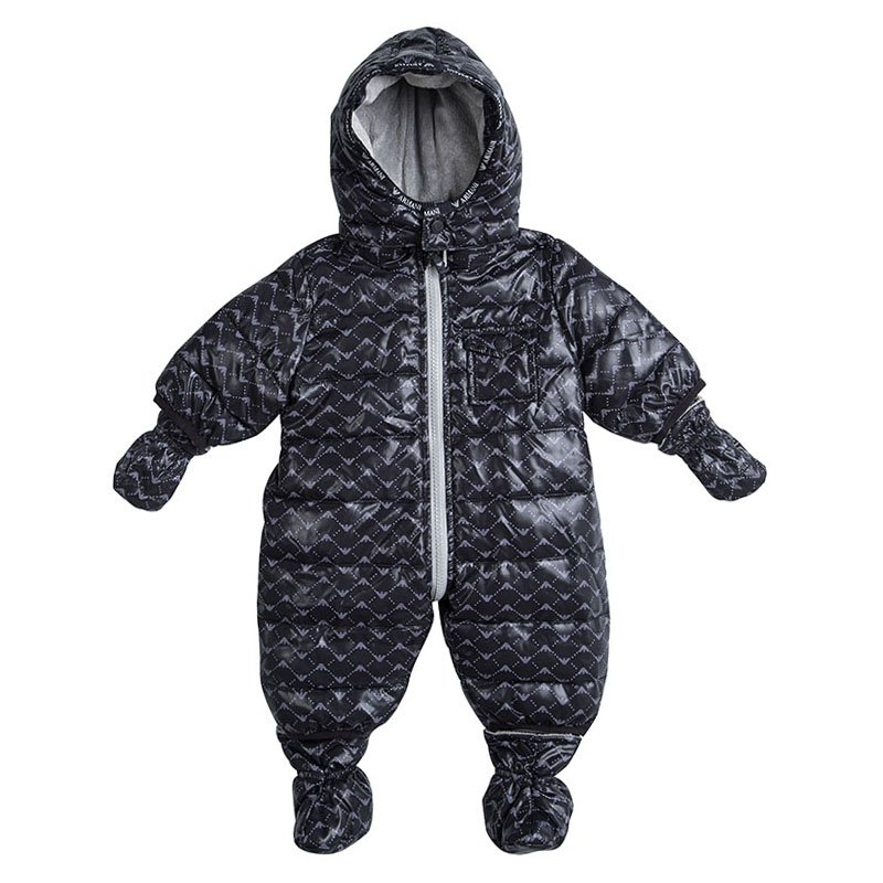 54545979a Buy Armani Baby Navy Blue Logo Printed Hooded Snowsuit