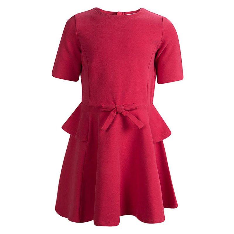 فستان أرماني جونيور قطن أحمر بفيونكة مزينة 6 سنوات