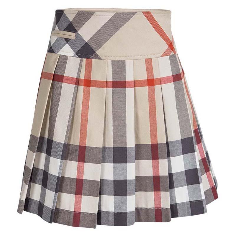 9f146bd35ffe3 Buy Burberry Children Beige Novacheck Cotton Pleated Mini Skirt 10 ...