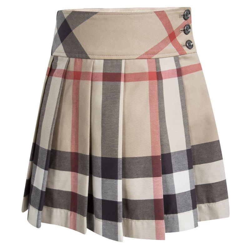 9b643098b Buy Burberry Children Beige Novacheck Cotton Pleated Mini Skirt 4 ...
