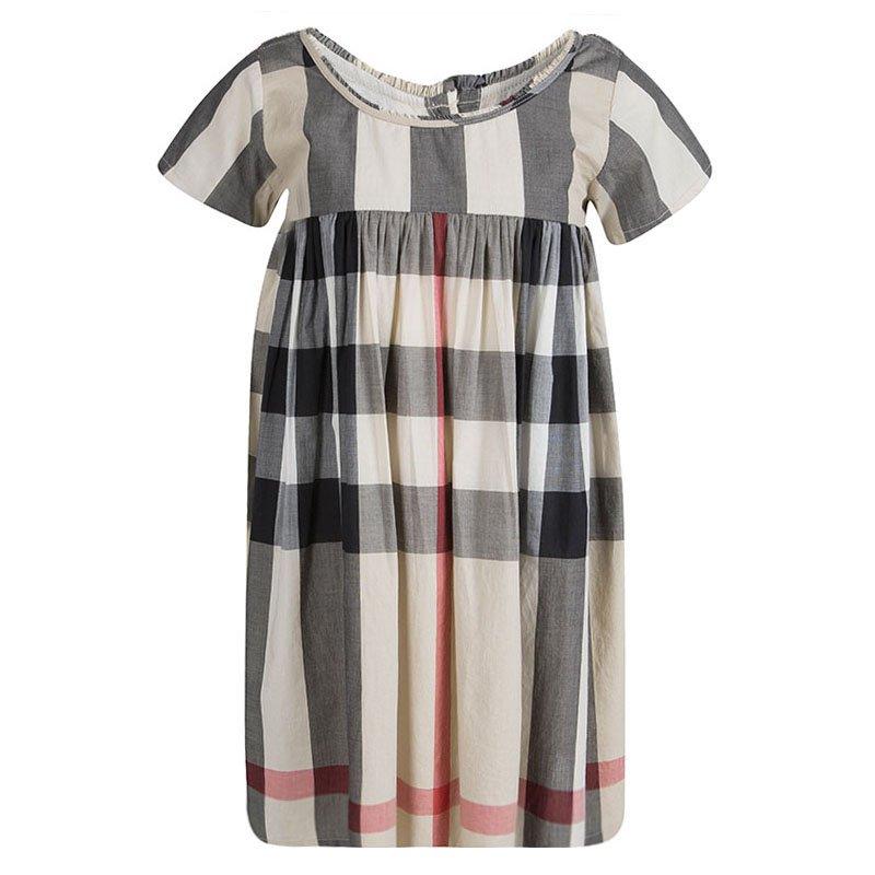 a82abc88a597 Buy Burberry Children Novacheck Cotton Short Sleeve Gathered Dress 8 ...