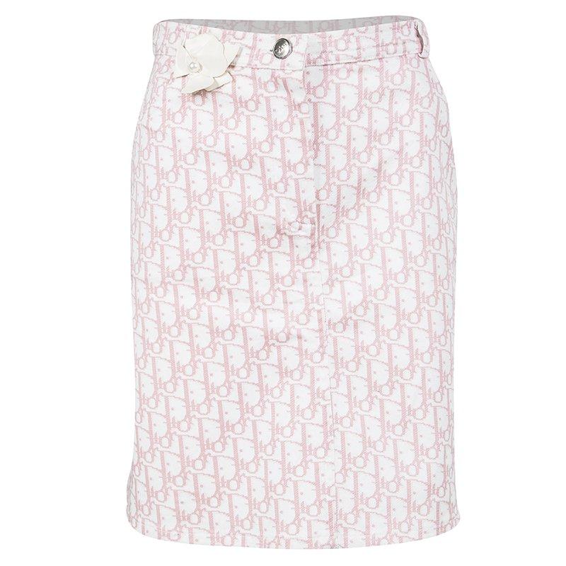 Dior White and Pink Monogrammed Denim Skirt 12 Yrs