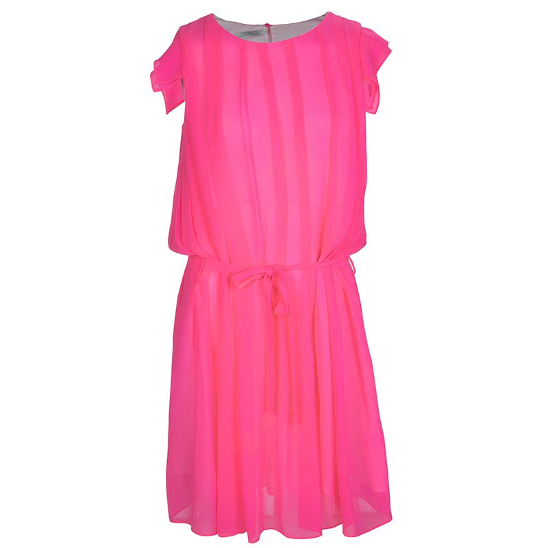 56370d5ee07e Buy Dior Neon Pink Chiffon Pleated Belted Dress 10 Yrs 66778 at best ...