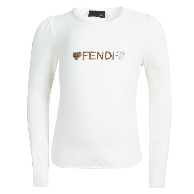 56af5dd827c Buy Fendi Kids Off White Logo Detail Embellished Long Sleeve Top 4 ...