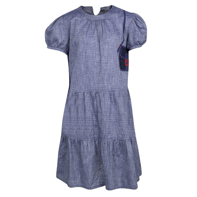 7f2a506489b Buy Fendi Blue Cotton Chambray Logo Patch Detail Dress 10 Yrs 108159 ...