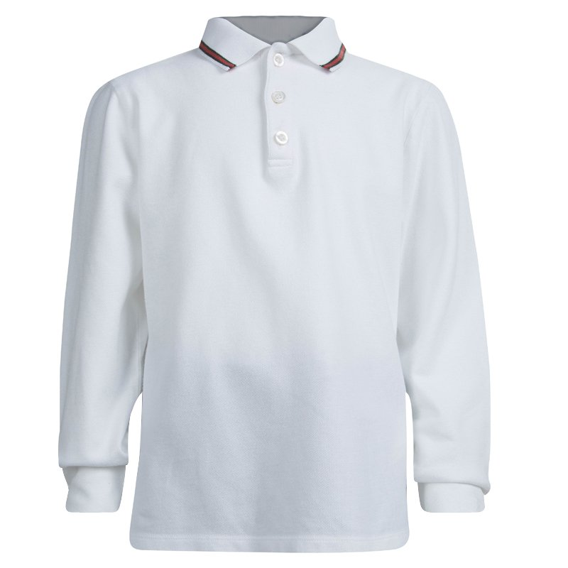 09f6a82aa37e0 Gucci White Long Sleeve Polo T-Shirt 8 Yrs