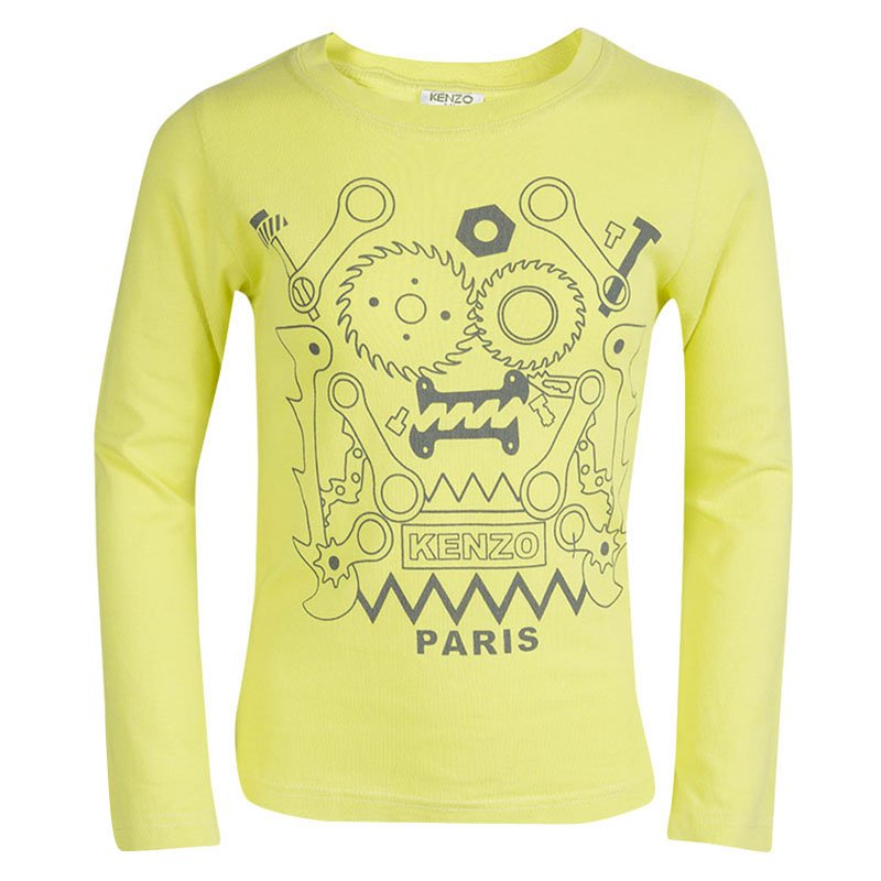 c9ac4bc402ae Buy Kenzo Kids Yellow Printed Long Sleeve Crew Neck T-Shirt 6YRS ...