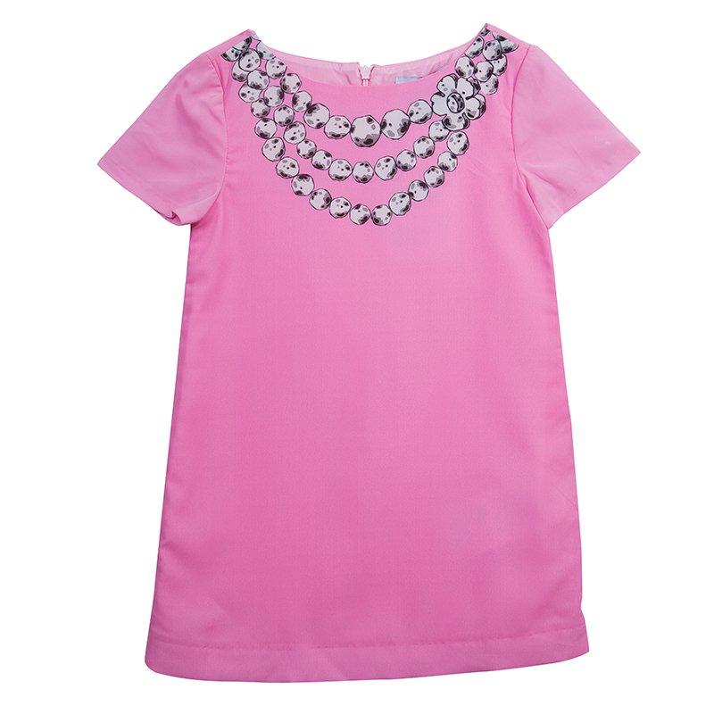 Moschino Kids Pink Necklace Print Short Sleeve Dress 4 Yrs