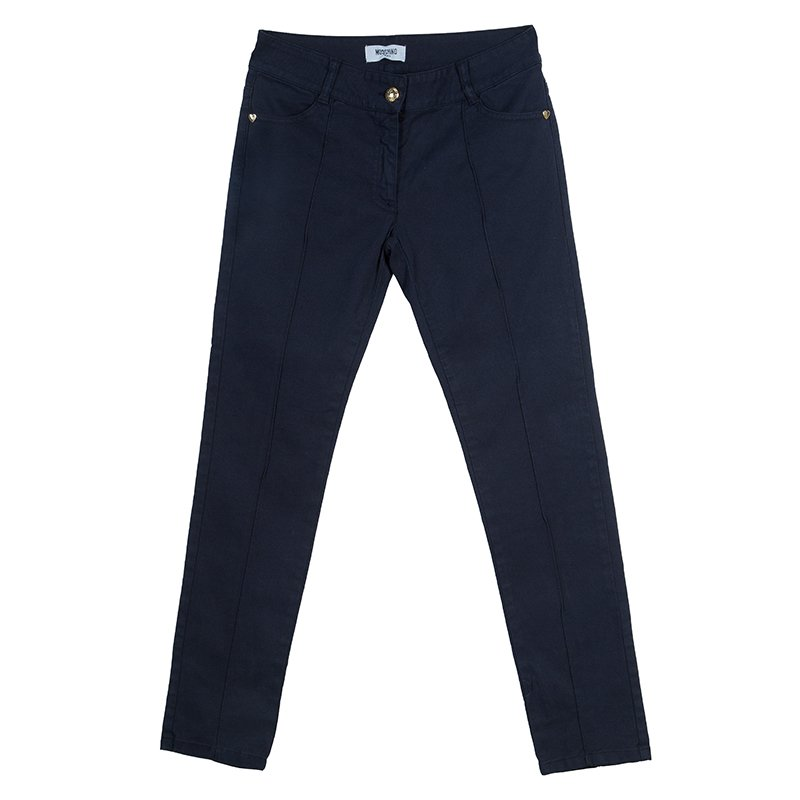 Moschino Teen Navy Pintuck Detail Pants 11 Yrs