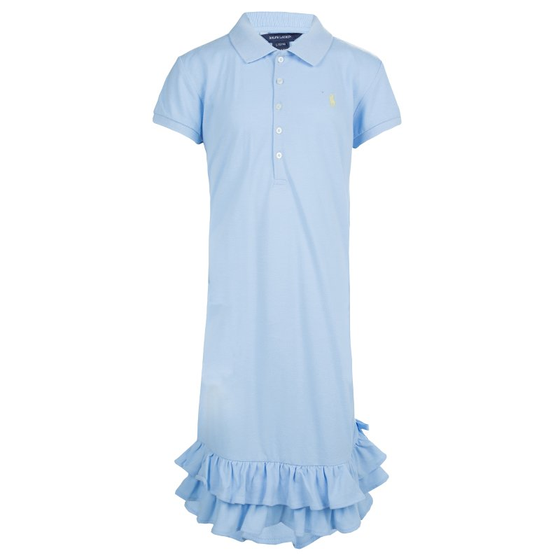 c72459d377 Ralph Lauren Light Blue Short Sleeve Ruffle Bottom Polo Dress 12/14 Yrs