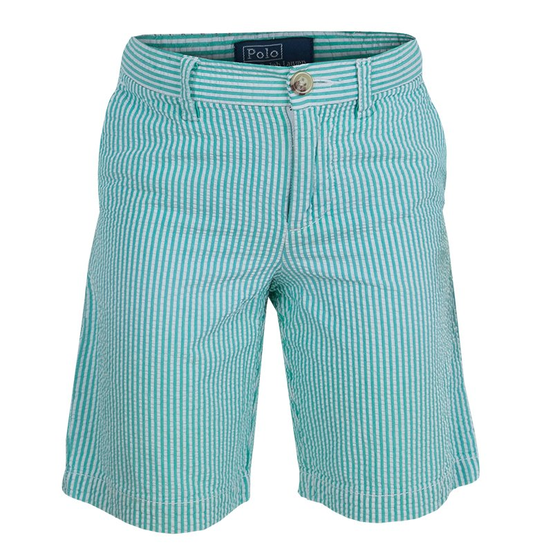 new arrival a20fc 02de4 Polo By Ralph Lauren Green Seersucker Striped Bermuda Shorts 5 Yrs