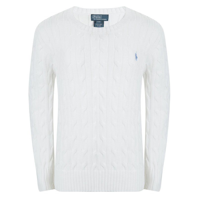 b718a5453 Buy Polo By Ralph Lauren White Cable Knit Sweater 8 Yrs 95834 at ...