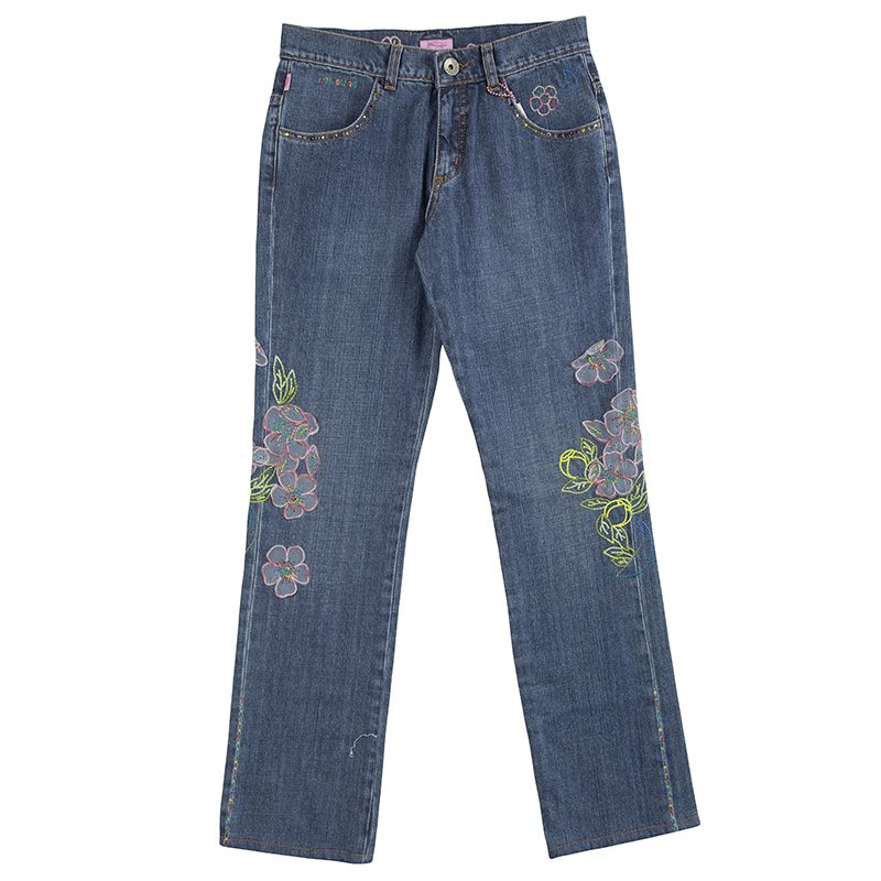 Roberto Cavalli Angels Embroidered Floral Applique Jeans 12Y