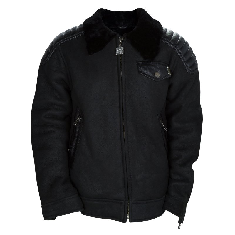 Roberto Cavalli Devils Black Leather Quilted Patch Detail Fur Lined Jacket 10 Yrs
