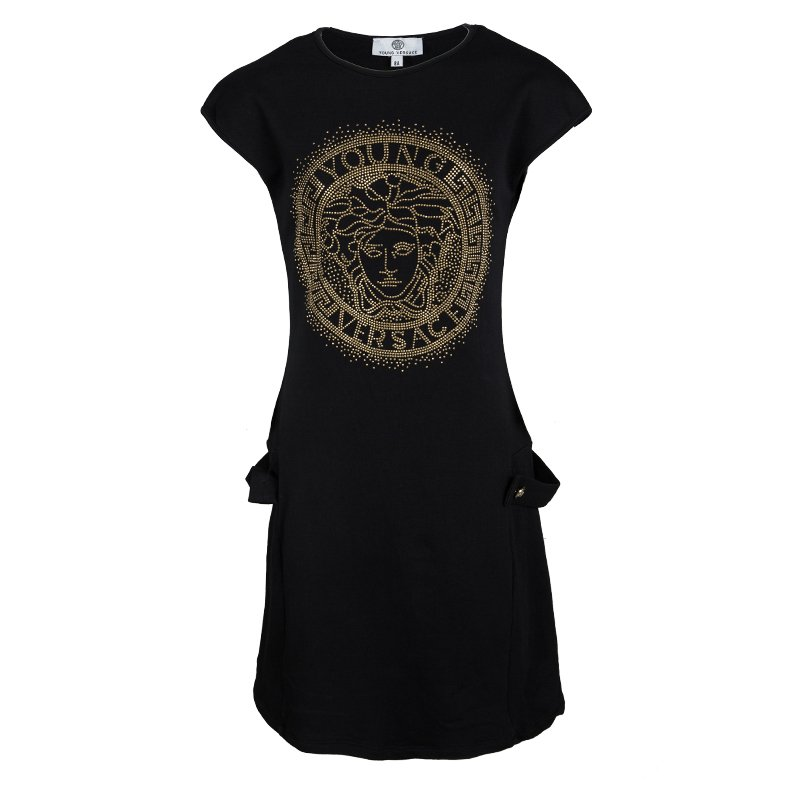 f97bb549 Buy Young Versace Black Knit Medusa Logo Embellished Dress 8 Yrs ...