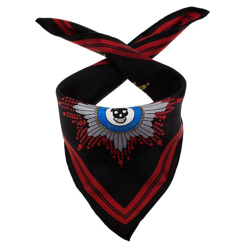 bac0718670a92 ... Alexander McQueen Black Military Skull Badges Print Silk Pocket Square.  nextprev. prevnext