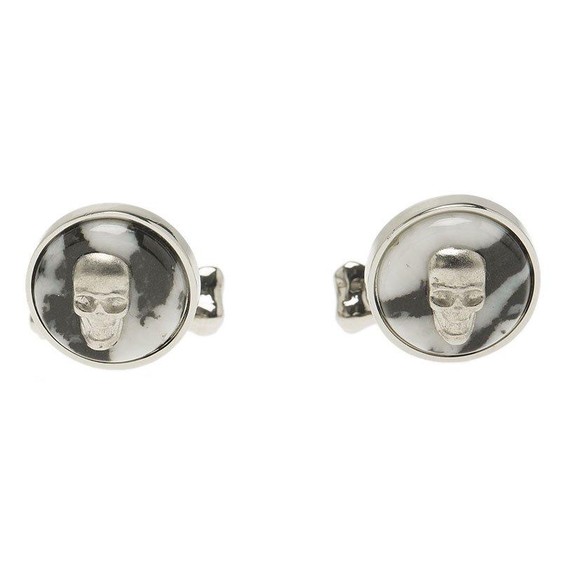 Alexander McQueen Skull & Bone Agate Silver Tone Cufflinks