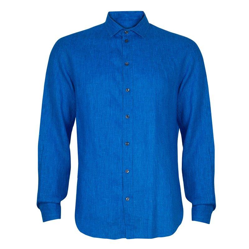 Armani Collezioni Men's Blue Linen Shirt L