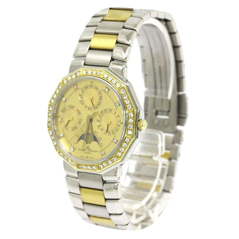 2d1292b23 Buy Baume & Mercier Gold 18K Yellow Gold and Stainless Steel Diamond ...