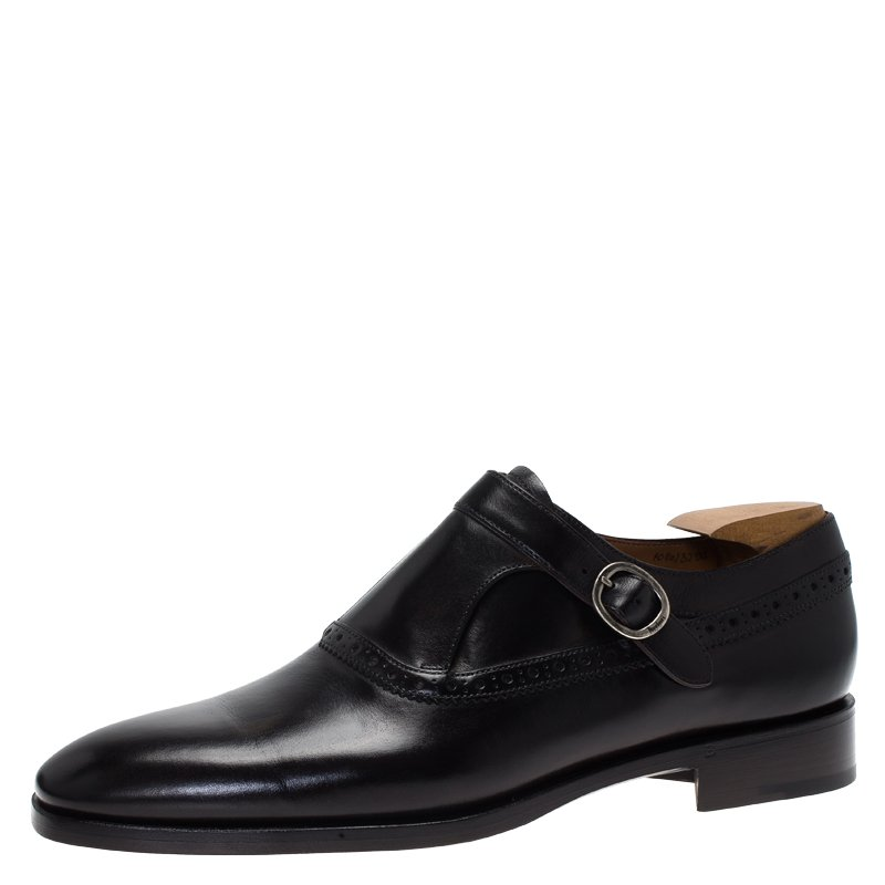 Berluti Black Leather Brogue Monk Shoes Size 44.5