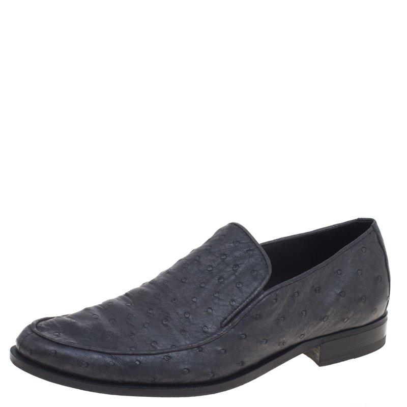50de797ab2 Buy Bottega Veneta Grey Ostrich Leather Loafers Size 43 93028 at ...
