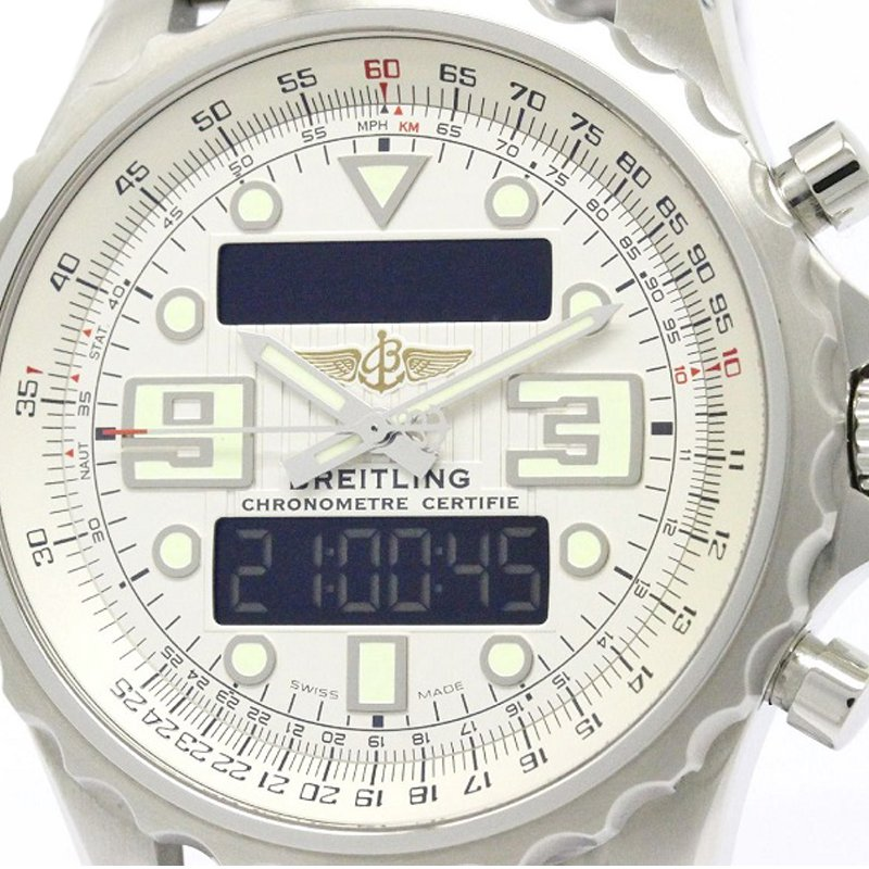 Breitling Silver Stainless Steel Chronospace Men's Wristwatch 48MM