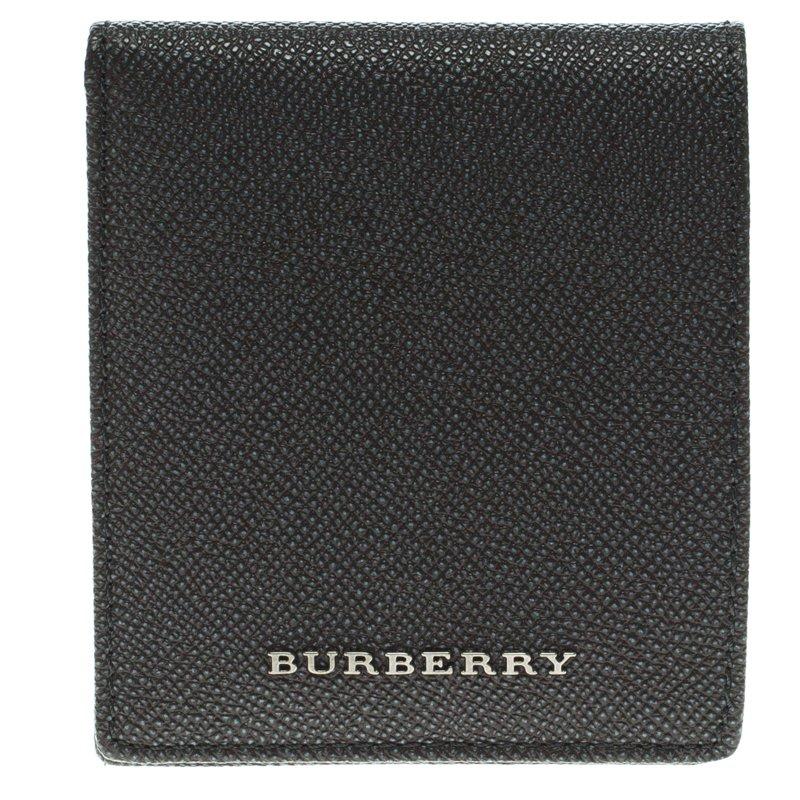 Burberry Grey Pebbled Leather Bi Fold Wallet