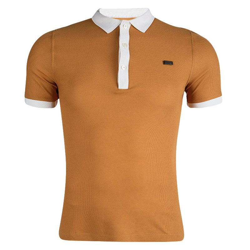 25c00f197 Buy Burberry London Saffron Orange Contrast Collar Polo T-Shirt XS ...