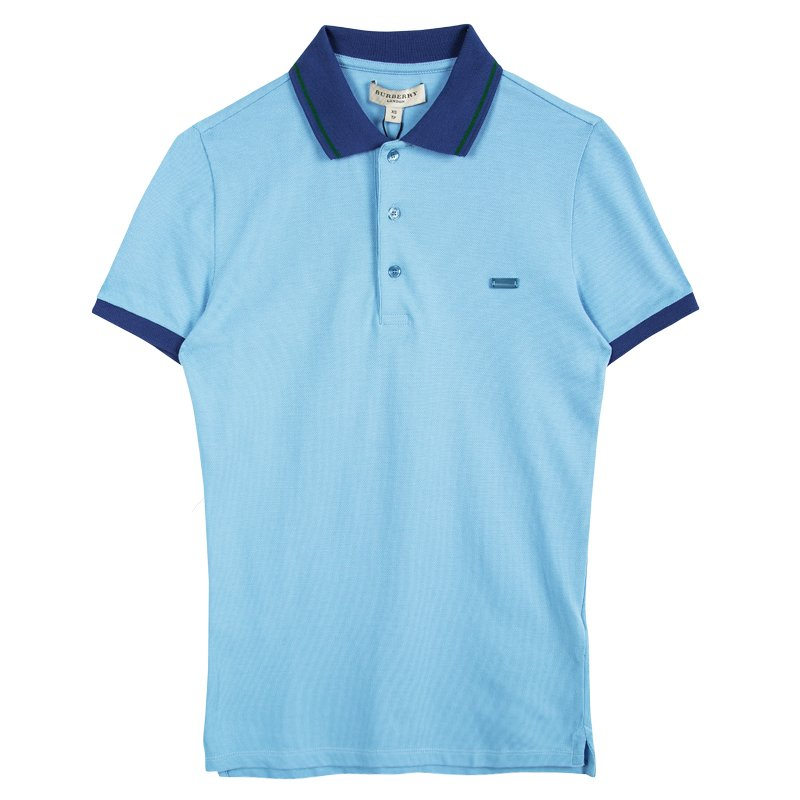 bde860be ... Burberry London Powder Blue Contrast Collar Honeycomb Knit Polo T-Shirt  XS. nextprev. prevnext