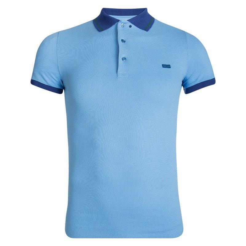 Buy Burberry London Blue Contrast Collar Honeycomb Knit Polo T-Shirt ... a53609e2ca2