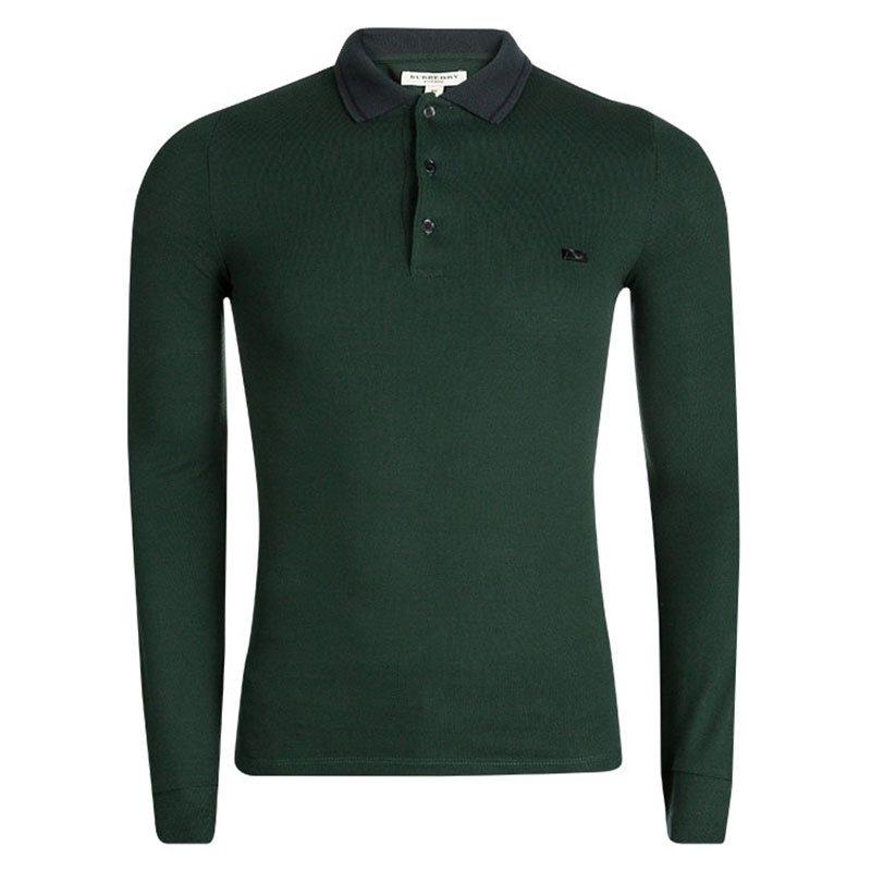 14cb94410 ... Burberry London Deep Bottle Green Long Sleeve Anderton Polo T-Shirt XS.  nextprev. prevnext