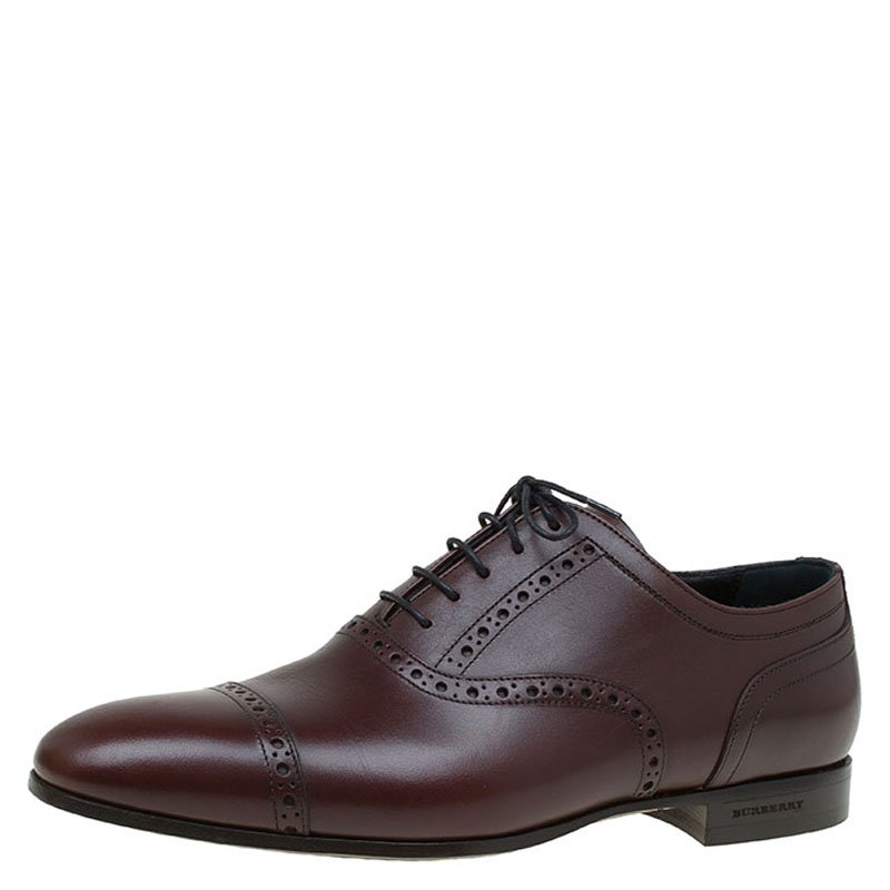Burberry Brown Brogue Leather Markwell Lace Up Oxfords Size 40