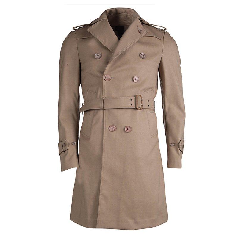Burberry Prorsum Beige Wool Belted Trenchcoat S