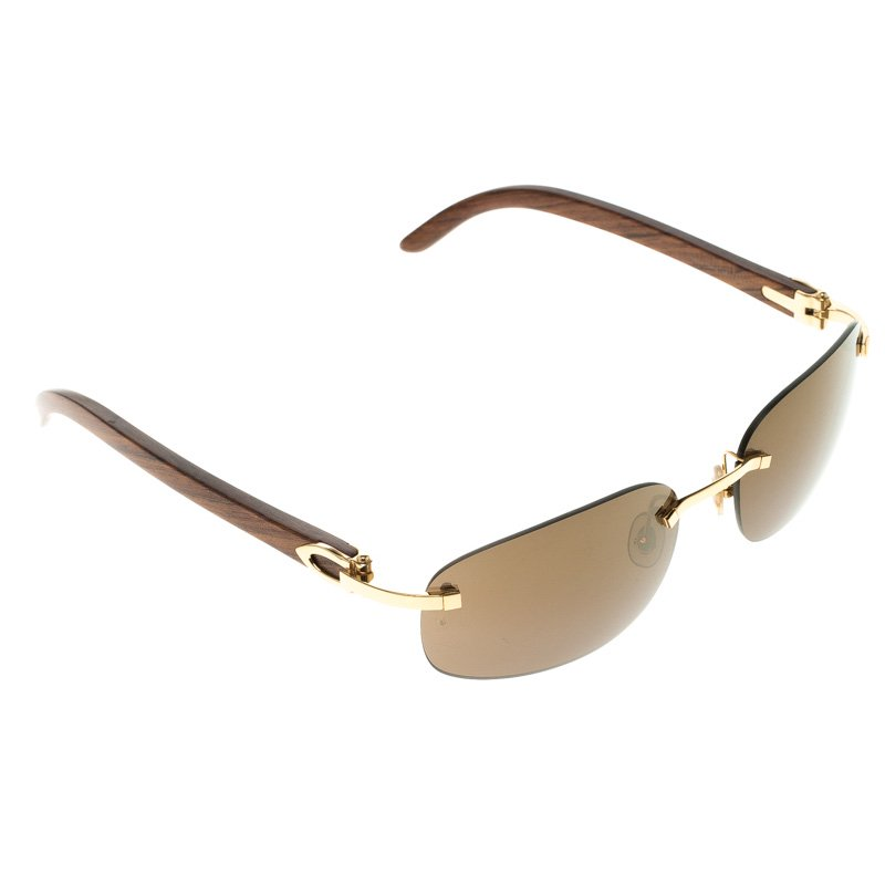 Buy Cartier Brown 135b Wooden C Decor Sunglasses 106688 At Best