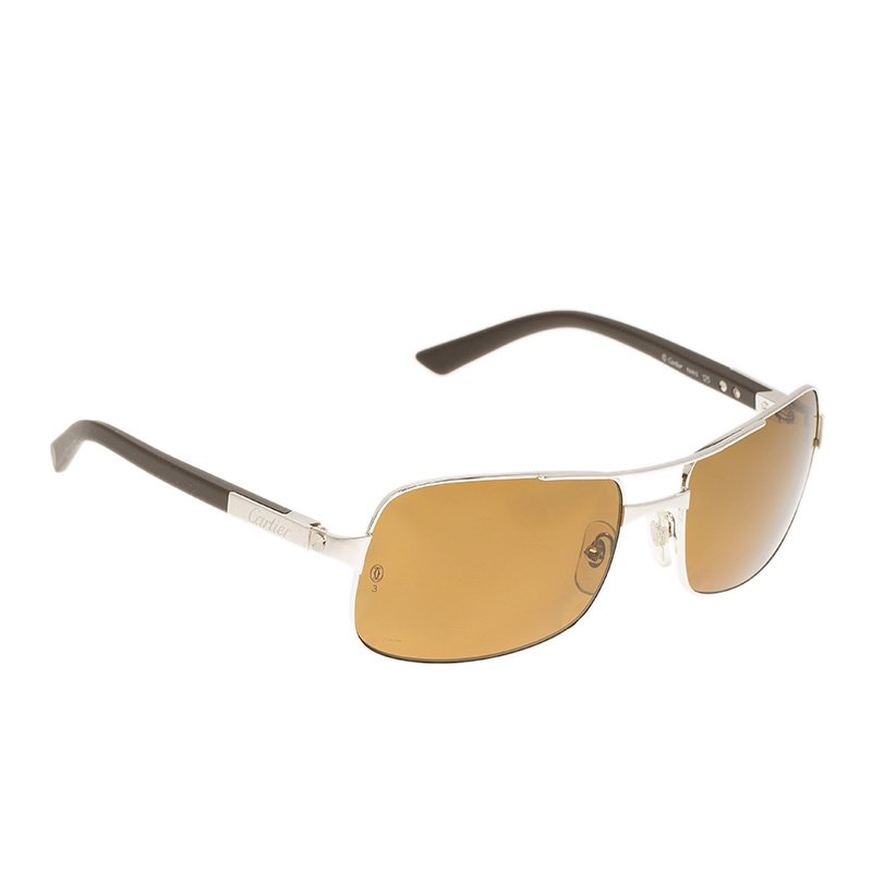 58eb2511323 Buy Cartier Brown Platinum 125 Santos De Cartier Rimmed Sunglasses ...