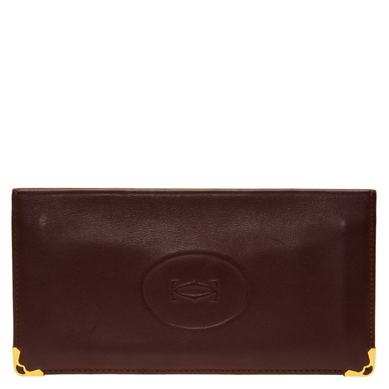 a7551756f Buy Cartier Burgundy Leather Must De Cartier Bi Fold Long Wallet ...