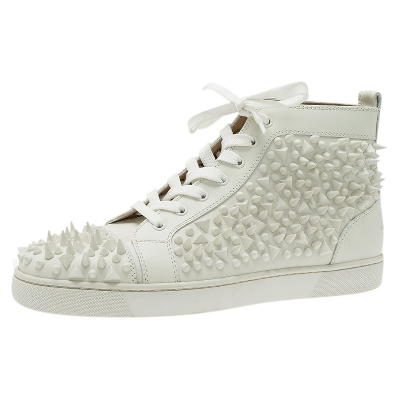 fcdbf95cb0df ... Christian Louboutin White Leather Louis Spikes Lace Up High Top Sneakers  Size 43.5. nextprev. prevnext