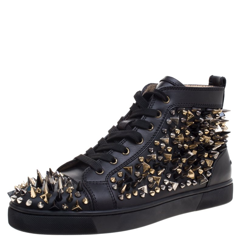 c0e2c7d17eb Christian Louboutin Black Leather Louis Spikes Lace Up High Top Sneakers  Size 41