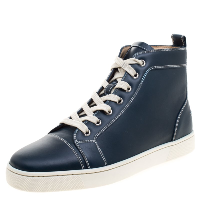 new style df628 1ae61 Christian Louboutin Navy Blue Leather Louis High Top Sneakers Size 41
