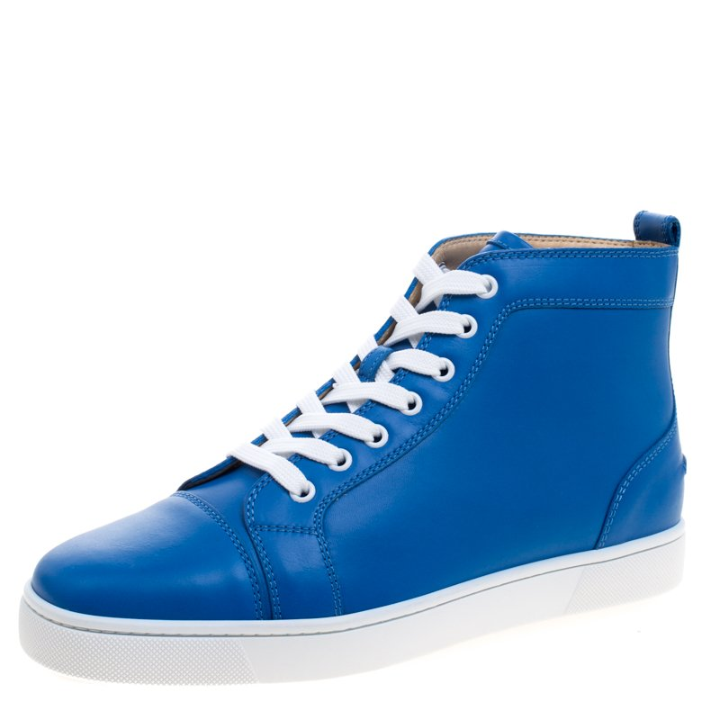 reputable site efb9e ece84 Christian Louboutin Persian Blue Leather Louis High Top Sneakers Size 41