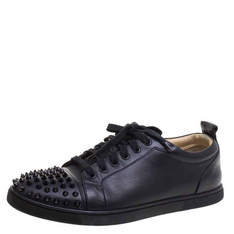 new product aecb2 d086a Christian Louboutin Black Leather Gondolaclou Spike Lace Up Sneakers Size  42.5